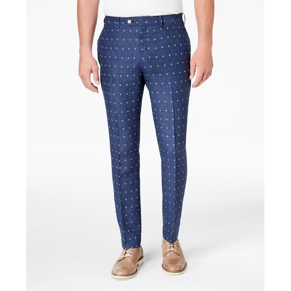 178236697248 Tallia Blue Mens Size 36x30 Dress Flat Front Polka Dot Pants. Image Gallery