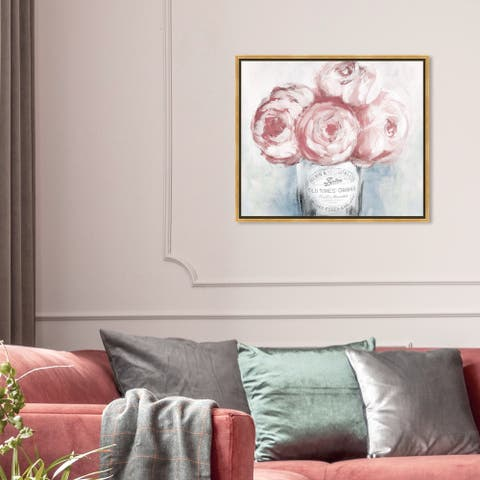 Oliver Gal Floral and Botanical Wall Art Framed Canvas Prints 'Peony Jam' Florals - Pink, Gray