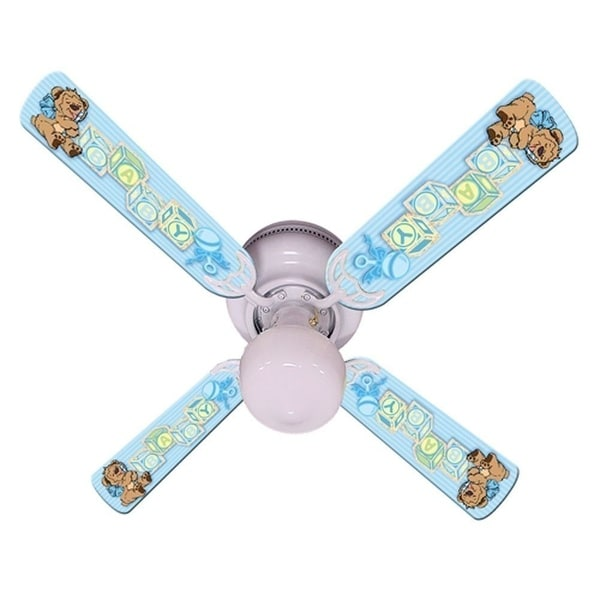 Blue Teddy Bear and Blocks Print Blades 42in Ceiling Fan Light Kit - Multi