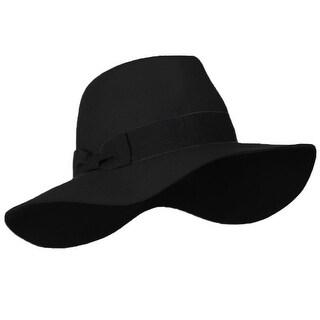Wool Felt Fedora Hat with Gross Grain Ribbon Band - Black