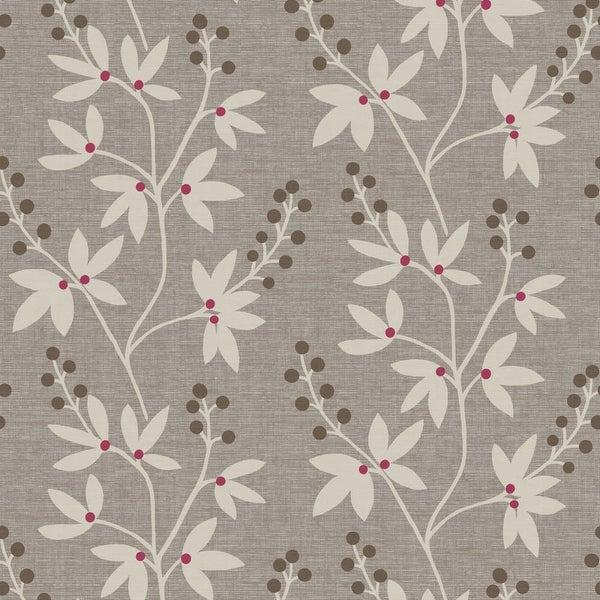Brewster 2535-20611 Currant Grey Botanical Trail Wallpaper