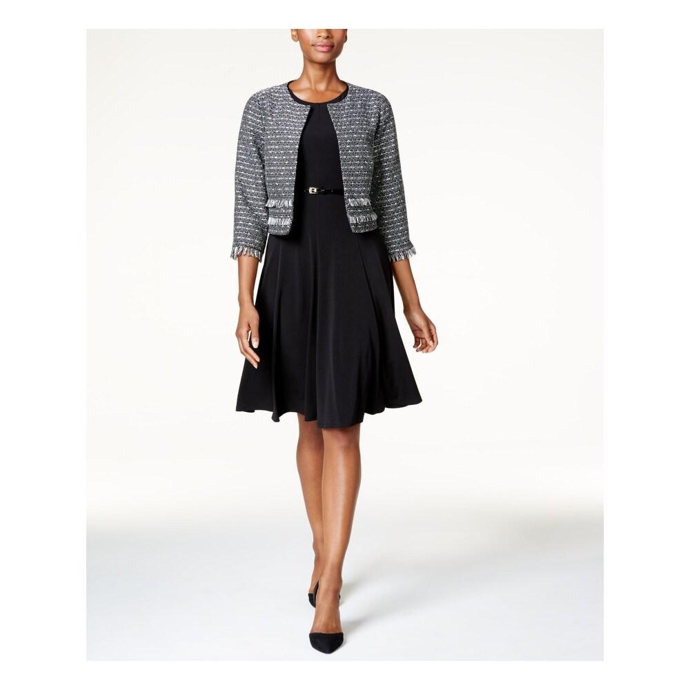 Jessica Howard Womens Petites Metallic Blouson Party Dress Black 8P