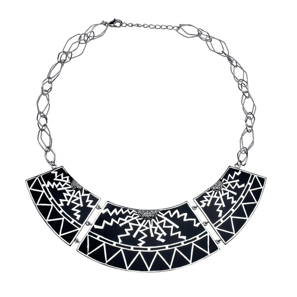 Cristina Sabatini Scroll Plate Necklace in Sterling Silver - White