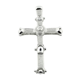 10K White Gold 1ctw Diamond Cross Charm Mens 68mm Tall Mens(i2/i3, I/j) By MidwestJewellery