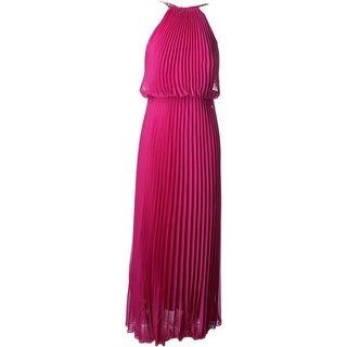 Aqua Womens Knife Pleat Sleeveless Evening Dress