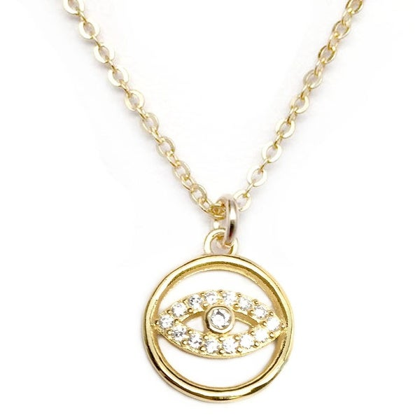 "Julieta Jewelry CZ Lucky Eye Gold Charm 16"" Necklace"