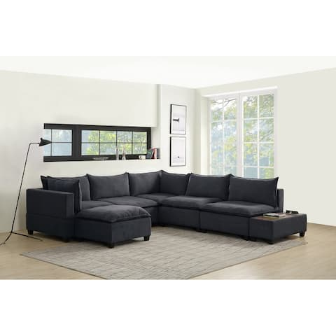 Madison Down Feather Sectional Sofa Chaise USB Storage Console