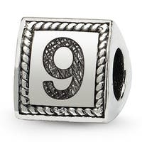 Sterling Silver Reflections Number 9 Triangle Block Bead (4mm Diameter Hole)