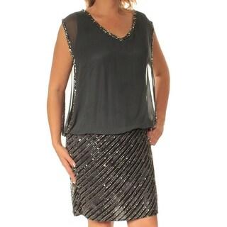 JKARA $229 Womens New 1271 Gray Beaded V Neck Short Sleeve Sheath Dress 12 B+B