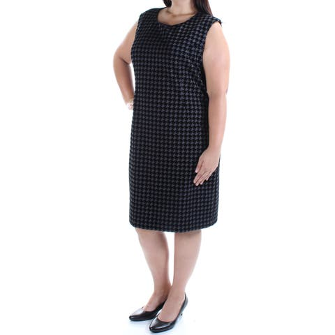TOMMY HILFIGER Womens Black Houndstooth Cap Sleeve Jewel Neck Below The Knee Shift Dress Plus Size: 18