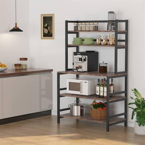 5-Tier Kitchen Bakers Rack with Hutch Shelf, Kitchen Stand Storage Cart Organizer