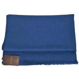 "Gucci Women's 165903 Royal Blue Lightweight Wool Silk GG Guccissima Scarf - 78"" x 28"""