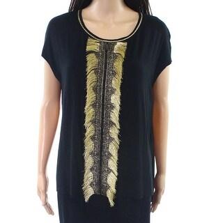 Elie Tahari NEW Black Gold Womens Size XS Scoop-Neck Fringe Blouse