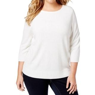 Karen Scott Womens Plus Pullover Sweater Ribbed Trim Raglan Sleeves