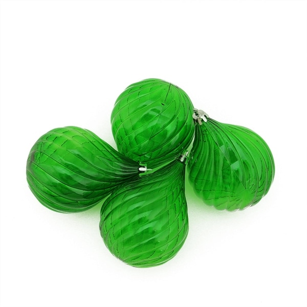 4ct Xmas Green Transparent Finial Drop Shatterproof Christmas Ornaments 4.5""