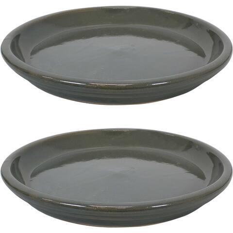 Sunnydaze Ceramic Planter Saucer - 12-Inch - Set of 2