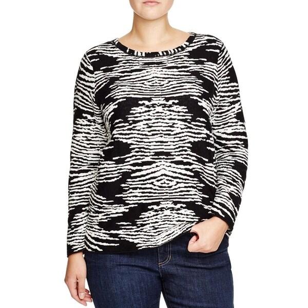 Calvin Klein Womens Plus Pullover Sweater Textured Knit Pattern