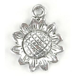 Blue Moon Silver-Plated Metal Charms-Sunflowers 12/Pkg - Silver