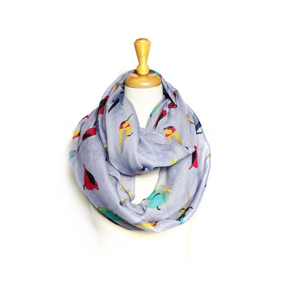 Birds Print Light Weight Soft Large Infinity Scarf - size:circumference 68 inches x 24 inches