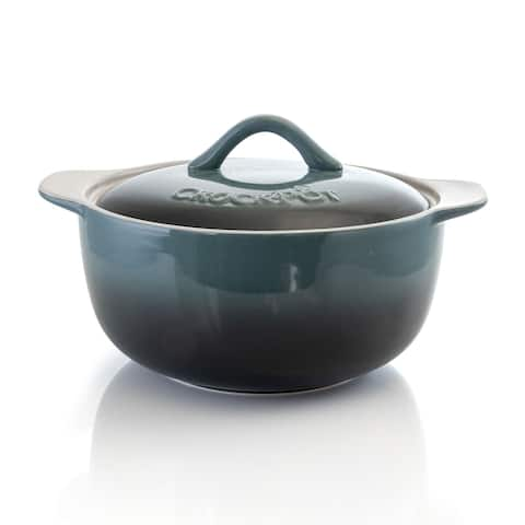 Gibson Home Crock Pot Artisan 2.3 Quart Casserole with Lid in Gradient Gray