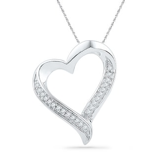 Heart Pendant 10K White-gold With Diamonds 0.03 Ctw By MidwestJewellery - White