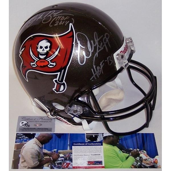 huge discount ed1cb d3cef Derrick Brooks and Warren Sapp Autographed Hand Signed Tampa Bay Buccaneers  Authentic Helmet - PSA/DNA