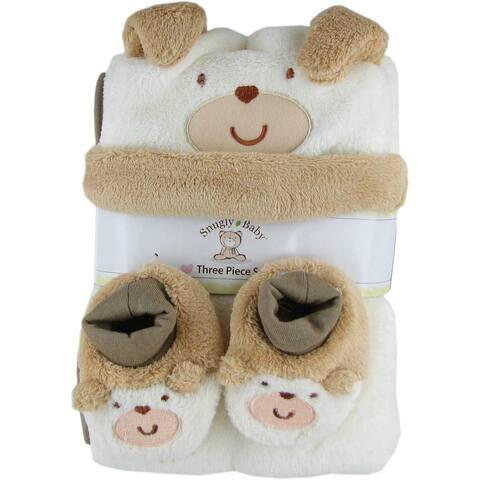Snugly Baby 3 Pc Set Tan Fleece Baby Blanket w/ Booties & Hat - 30.0 in. x 40.0 in.