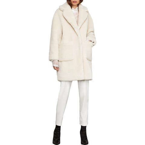 BCBG Max Azria Womens Willow Coat Long Faux Fur