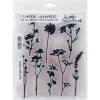 """Stampers Anonymous CMS253 Wildflowers Tim Holtz Cling Stamps, 7"""" by 8.5"""", Clear"""