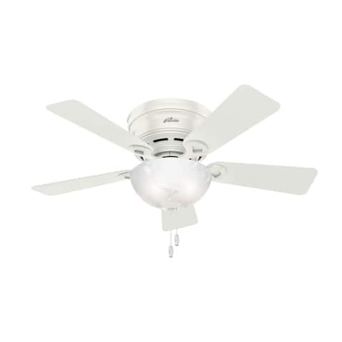 """Hunter 42"""" Haskell Low Profile Ceiling Fan with LED Bowl Light Kit and Pull Chain"""