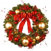"36"" Decorative Collection Cozy Christmas Wreath with Red and Clear Lights - green"