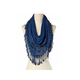 Women's Fancy Lace Fringes Triangle Scarf - Navy