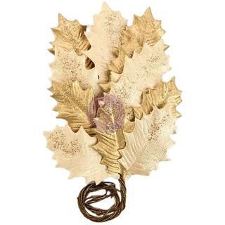 Gilden Night; Gold - Prima Marketing Glittered Leaf Stems