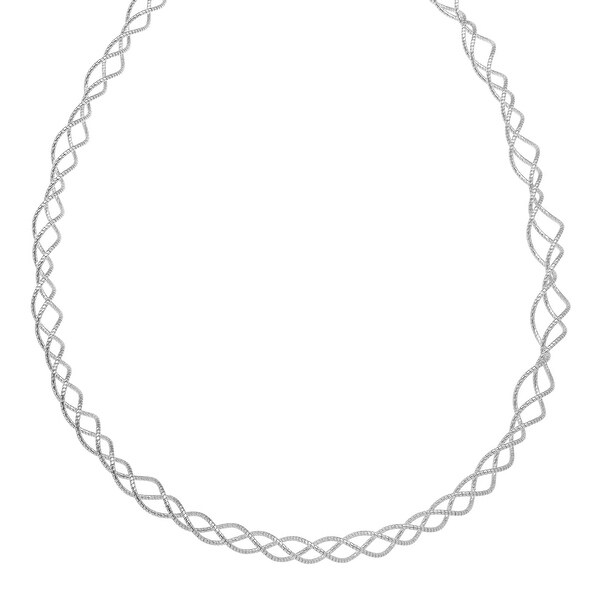 Coiled Necklace in Rhodium-Plated in Sterling Silver - White