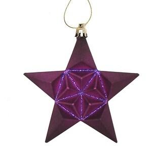 "12ct Matte Purple Glittered Star Shatterproof Christmas Ornaments 5"""