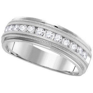 14k White Gold Mens Natural Round Diamond Comfort-fit Wedding Anniversary Band 1/4 Cttw