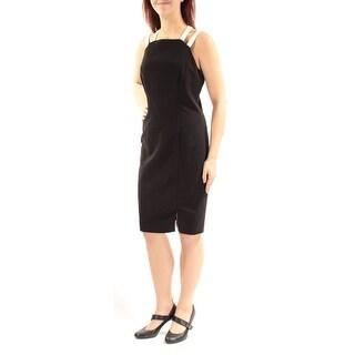 Womens Black White Sleeveless Knee Length Sheath Wear To Work Dress Size: 10