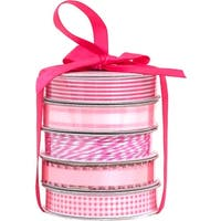 American Crafts Premium Ribbon & Twine 5-Packs-Spring Pink