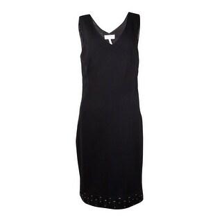 Laundry by Shelli Segal Women's Grommet Ponte Dress (12, Black) - 12