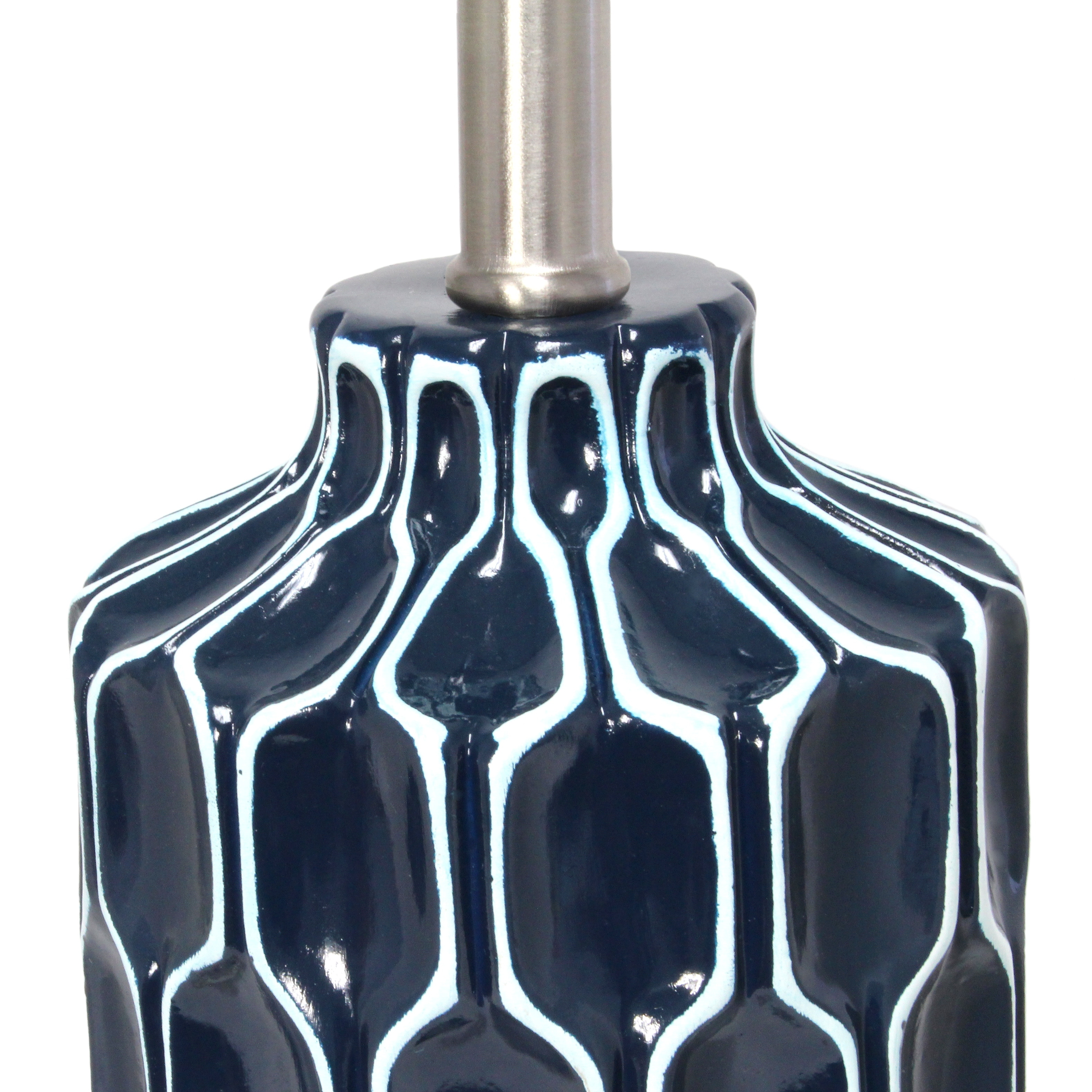 Picture of: Shop Lalia Home Moroccan Table Lamp With Fabric White Shade Blue Overstock 31027411