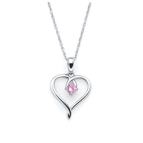 "Boston Bay Diamonds Sterling Silver Birthstone Heart Pendant Necklace, 18"""