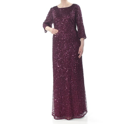 ADRIANNA PAPELL Womens Maroon Sequined 3/4 Sleeve Jewel Neck Full-Length Shift Formal Dress Size: 22W