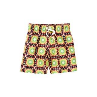 Azul Boys Multi Color Yellow Drawstring Waist Eclipse Swim Shorts