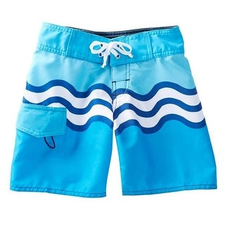 Azul Boys Turquoise Riding Waves Print Drawstring Tie Board Shorts