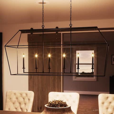 "Luxury Colonial Chandelier, 25.5""H x 54""W, with Minimalist Style, Linear Bird Cage Design, Parisian Bronze Finish - 54"