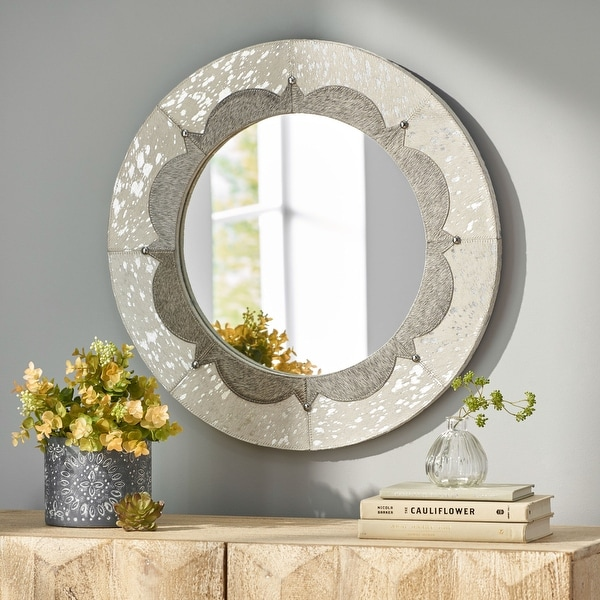 Crowe Indoor Leather Handcrafted Studded Round Wall Mirror by Christopher Knight Home. Opens flyout.