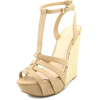 Jessica Simpson Bristol Open Toe Leather Wedge Heel