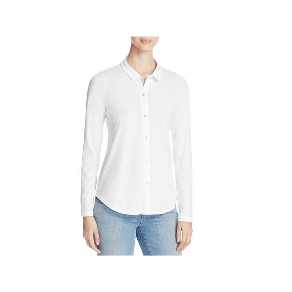 a561a856962 Shop Eileen Fisher Womens Petites Button-Down Top Hi Low Long Sleeve ...