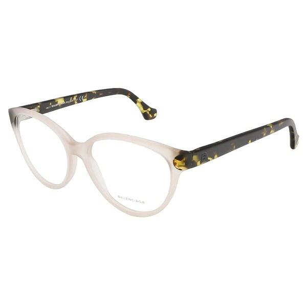 Shop Balenciaga BA5035/V 058 Beige/Black Oval prescription-eyewear ...