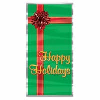 "Club Pack of 12 Winter Wonderland Themed ""Happy Holidays"" Door Cover Party Decorations 5' - green"